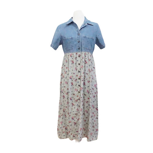 Denim Top Floral Button Down Dress