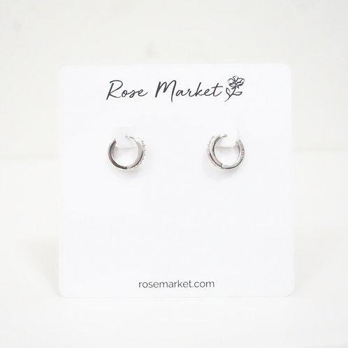 Small Silver Hoop Earring With Rhinestones