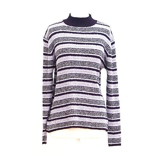 Purple Striped Mock-neck Sweater