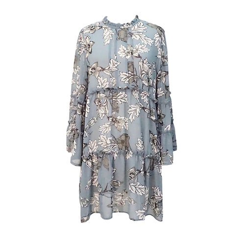 Blue Floral Ruffled Dress