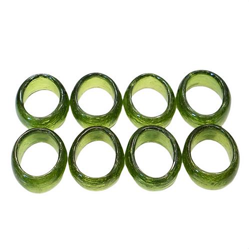 Green Glass Napkin Ring Set (8)