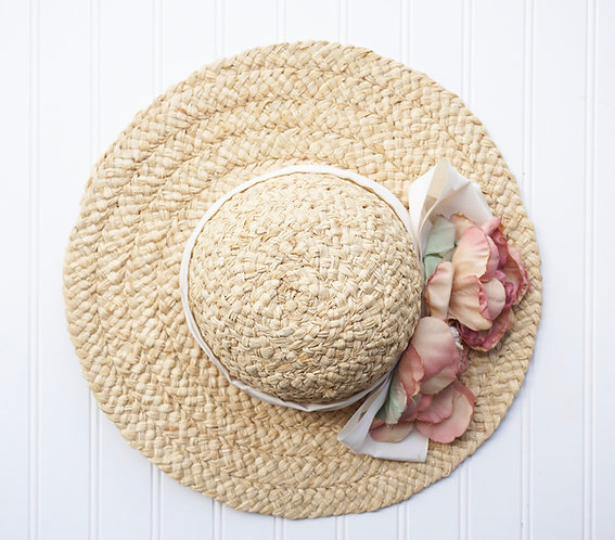 Floral Straw Hat with Ribbon