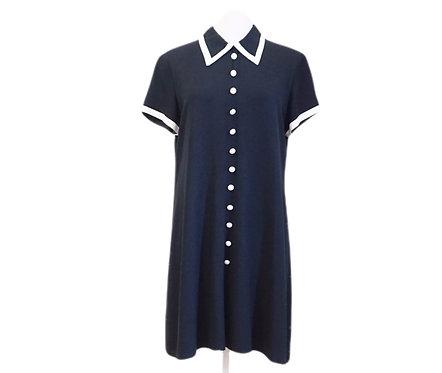 Black & White Collared Button Down Dress