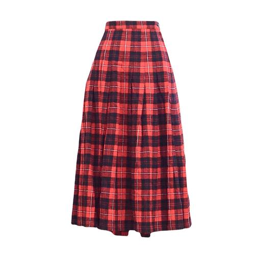 Long Red Wool Plaid Skirt