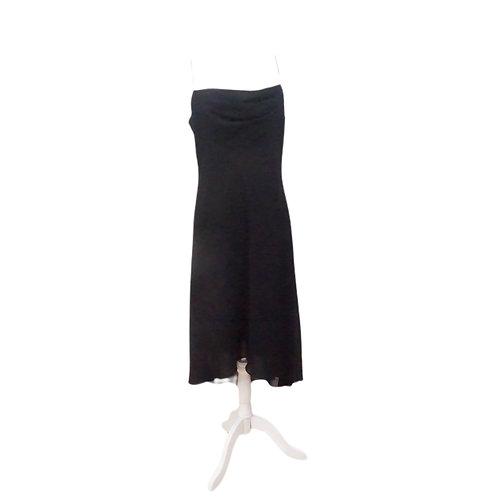 Black Cowl Neck Midi Dress