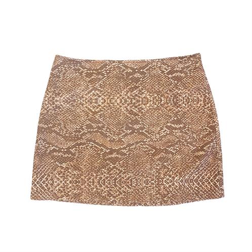 Tan 90s Snake Skin Mini Skirt