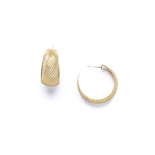 Gold Mesh Hoop Earring