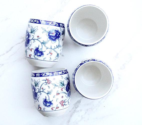 Blue Floral Tea Cup Set (4)