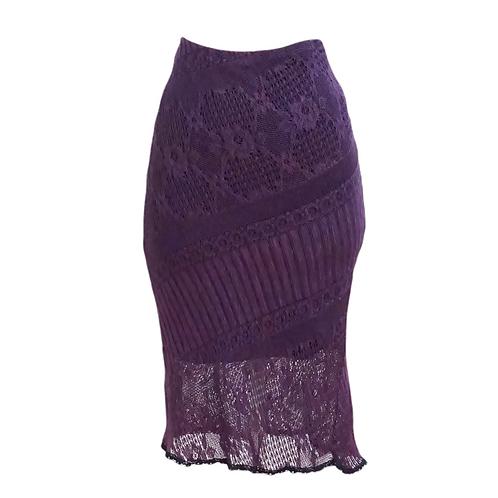 Purple Crochet Midi Skirt