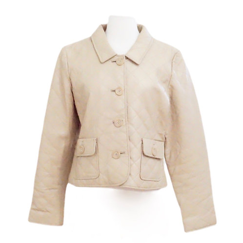 Beige Quilted Leather Jacket