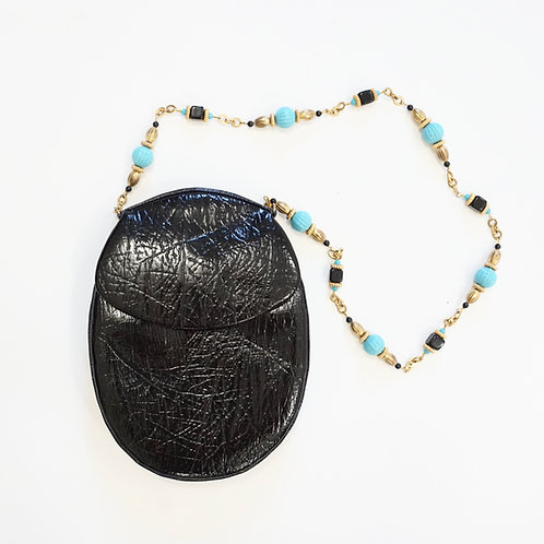 Black Patent Purse with Beaded Chain