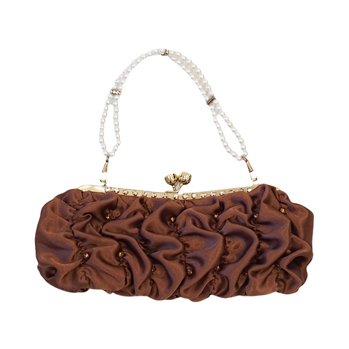 Brown Ruffled Pearl Handbag