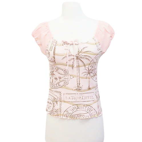 Pink Peasant Tee with France Print