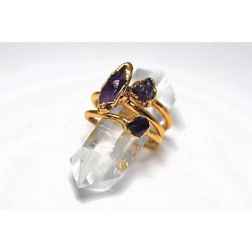 Gold Raw Amethyst Ring