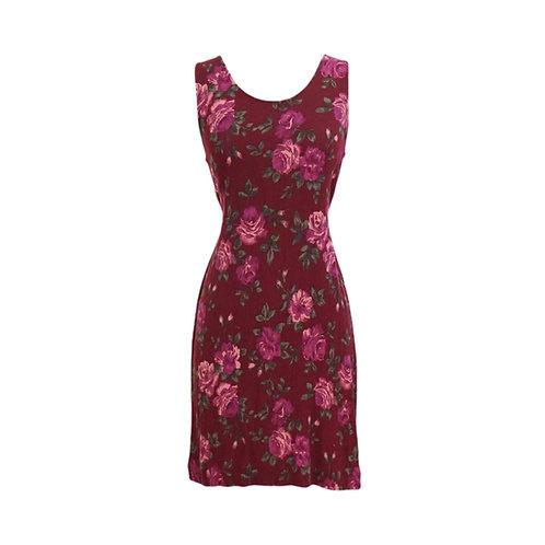 Burgundy Rose Mini Dress with Tie