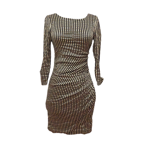 Black & Gold Striped Mini Dress