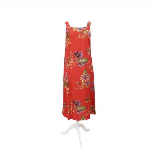 Red Tropical Floral Long Dress