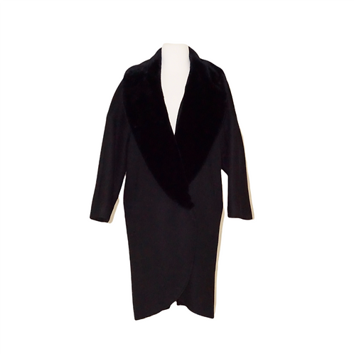 Black Wool and Faux Fur Coat