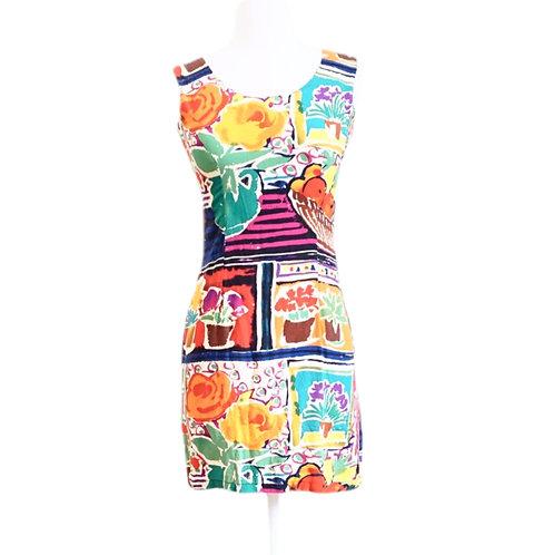 Floral & Fruit Watercolor Mini Dress