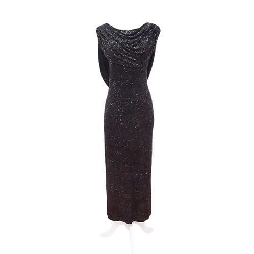 Black Glitter Cowl Dress