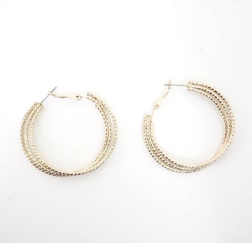 Triple Gold Hoop Earring