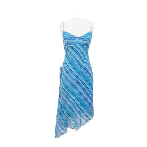 Asymmetrical Blue Striped Midi Dress