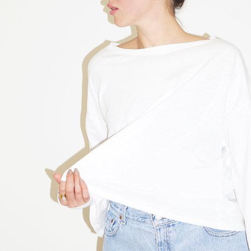 White Oversized Long Sleeve Tee