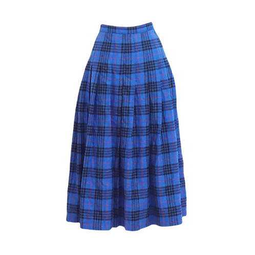 Long Blue Wool Plaid Skirt