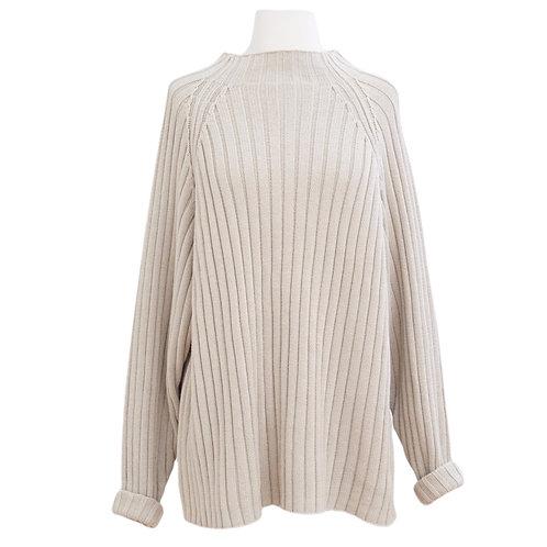 Beige Ribbed Mock Neck Sweater