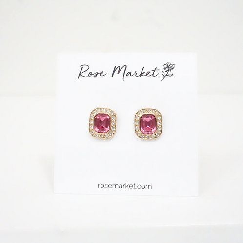 Square Pink & Rhinestone Earring