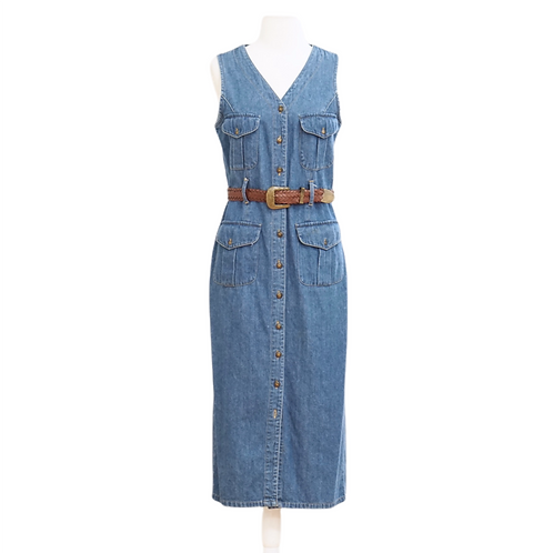 Button Down Denim Midi Dress