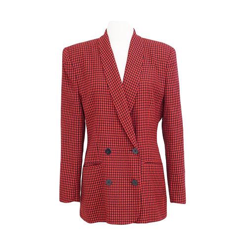 Red & Black Checkered Blazer