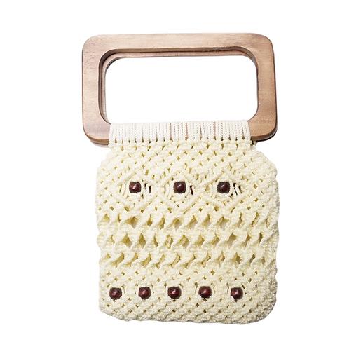 Cream Macrame Handbag with Beads