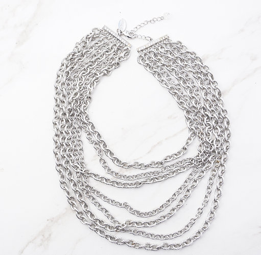 Layered Silver Chain Necklace