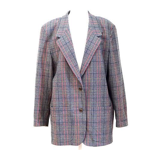 Navy Plaid Wool Blazer