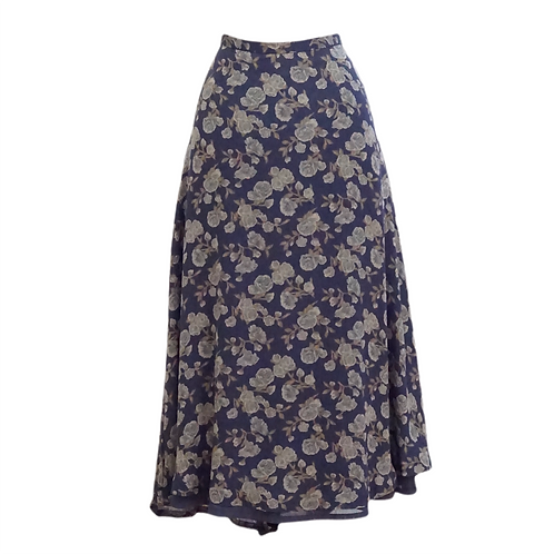 Navy Floral Midi Skirt