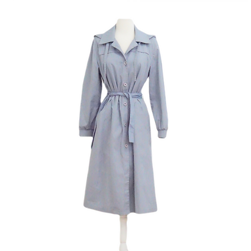 Blue Belted Trench Coat