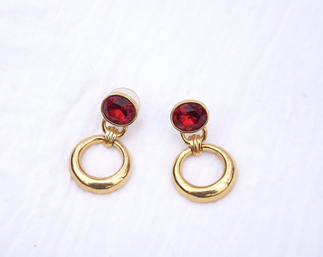 Gold and Red Hoop Earring