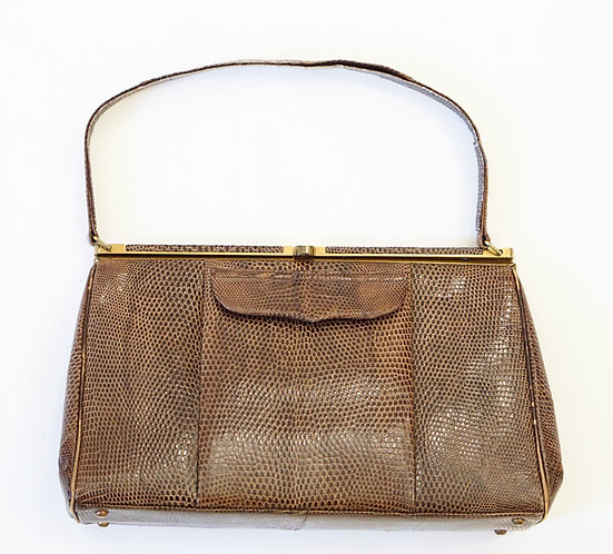 Vintage Brown Snakeskin Handbag