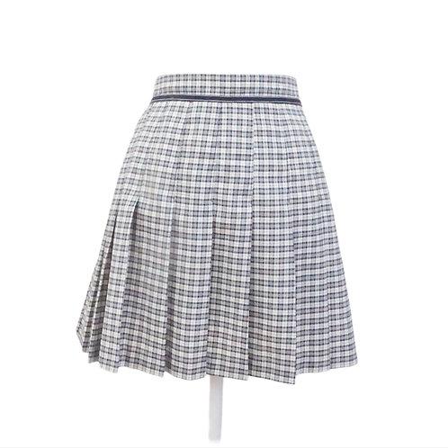 Navy Plaid Pleated Mini Skirt