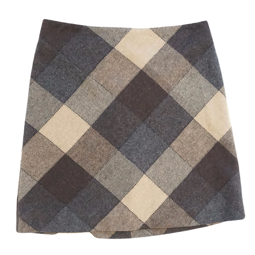 Neutral Diamond Print Mini Skirt
