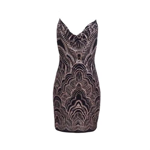 Black Glitter Stretch Mini Dress