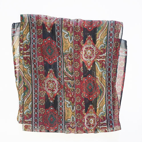 Black & Red Paisley Scarf