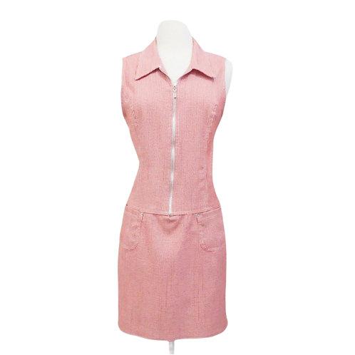 Red Gingham Zipper Down Mini Dress
