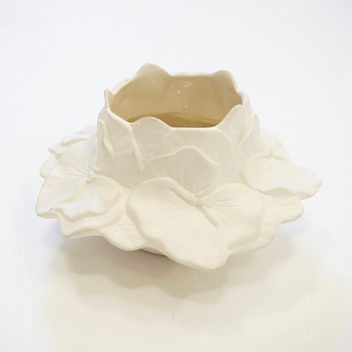 Ceramic White Floral Candle Holder