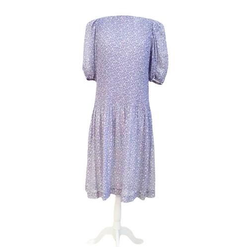 Purple Pleated Midi Dress