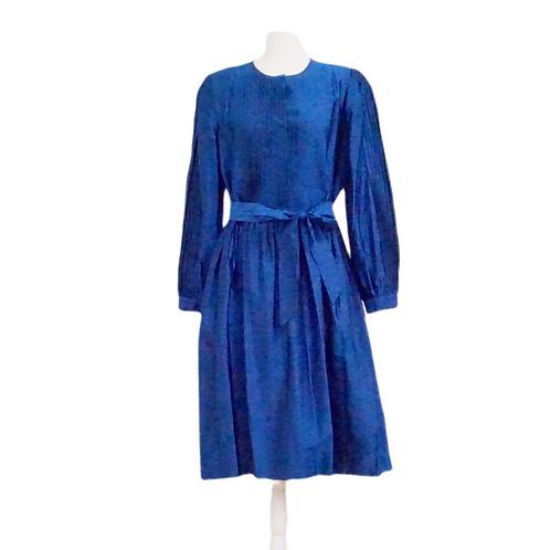 Blue Silk Taffeta Pleated Dress