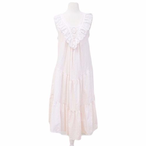 Pink Ruffled Lace Midi Dress