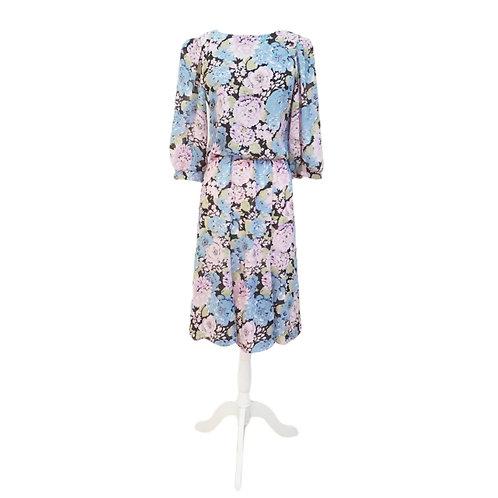 Purple & Blue Floral Midi Dress