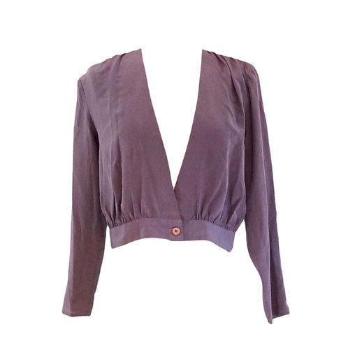 Purple Silk Deep V Blouse